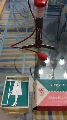 Vintage Skirt Markers: Pin-it & Singer w/BOX and rulers and pump