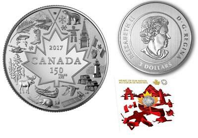 """Canada - """"150th ANNIVERSARY ~ HEART OF OUR NATION"""" Pure Silver Coin 2017 !"""