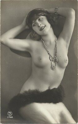 Rare original old French real photo postcard Art Deco nude study 1920s RPPC #141