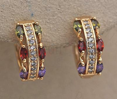 18K Gold Filled Earrings Zircon Amethys Perido Ruby Symmetry Topaz Ear Hoop Lady
