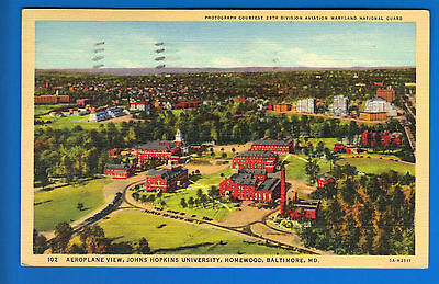 Johns hopkins university Postcard! Baltimore MD! Air view!