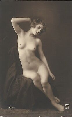 Rare original old French real photo postcard Art Deco nude study 1910s RPPC #241