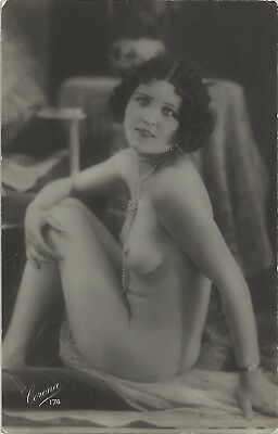 Rare original old French real photo postcard Art Deco nude study 1920s RPPC #358