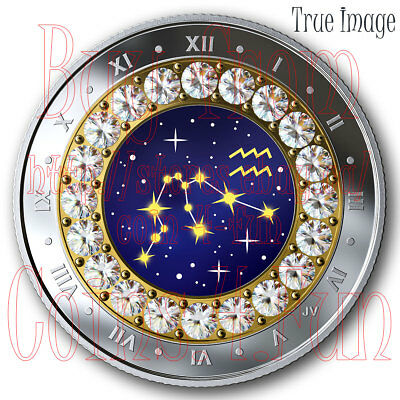2019 Aquarius Zodiac Series#2 $5 Pure Silver Coin with Swarovski Crystal Canada
