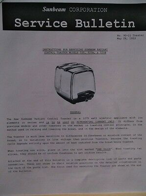 SUNBEAM Radiant T-20 Toaster Service Manual Instructions, Schematics, Parts List