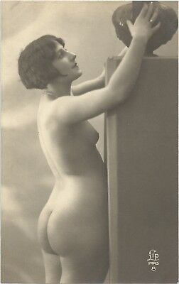Rare original French real photo postcard Art Deco nude study 1920s RPPC pc #353