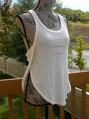 857d68ddef4e5 ALO YOGA SIDE Slit Graphic Tank, small, pearl color w/print, New ...