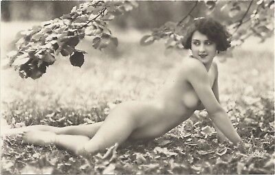 Rare original French real photo postcard Art Deco nude study 1920s RPPC pc #223