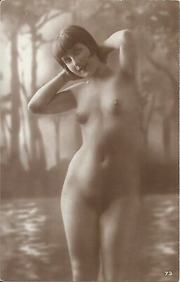 Rare original old French real photo postcard Art Deco nude study 1920s RPPC #022