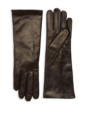 Portolano Classic Brown Chocolate Leather Cashmere Lining Gloves, sz 6.5