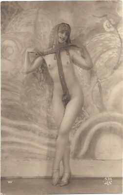Rare original old French real photo postcard Art Deco nude study 1920s RPPC #350