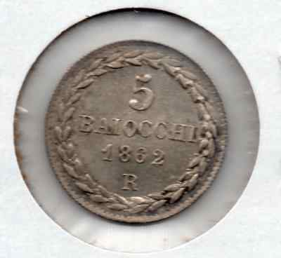 **scarce** High Grade 1862R Papal States 5 Baiocchi (Low Mintage)