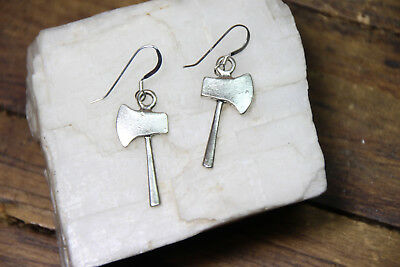 Axe Earrings Medieval Weapon Theme Battleaxe 925 sterling silver pewter Charms