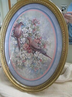 Home Interiors Oval Print, 2 Birds, Pinks & Blues