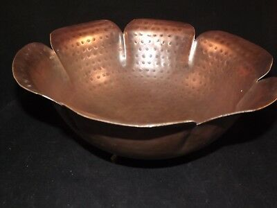 Vintage Hand Hammered Solid Brass Large 3 Footed Pedal Bowl made in India