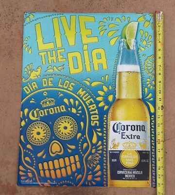 """CORONA EXTRA Beer METAL ADVERTISING SIGN Day of the Dead Skull 16x21"""" NEW"""