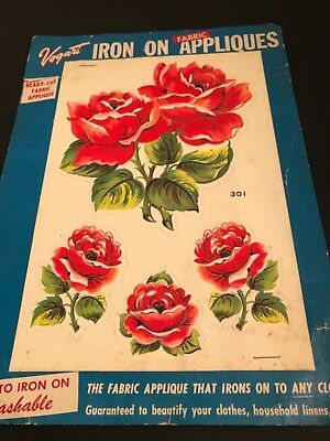 Vintage Vogart Iron On Fabric Appliqués Red Roses 301
