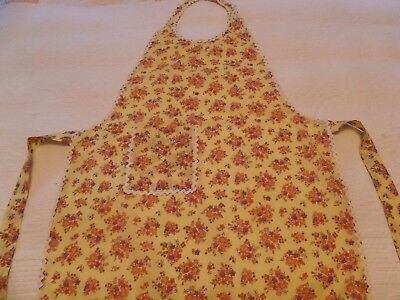 Just Like Grandma VINTAGE YELLOW FLORAL COTTON FULL BIB OVER THE HEAD FARM APRON