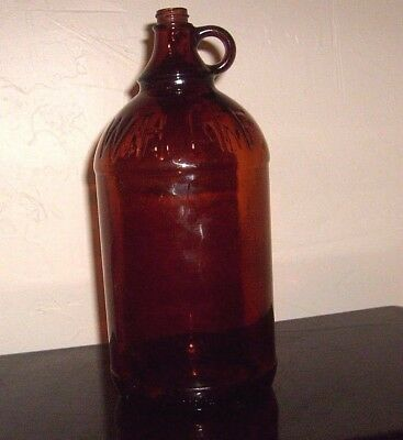 Vintage WHITE MAGIC Embossed 2-Qt Amber Duraglas Glass Bleach JUG  1920