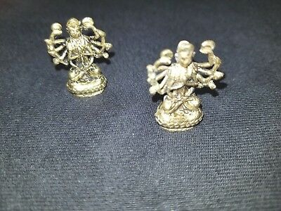 Goddess Kali depicted without her skull necklace in this 100% brass mini statue