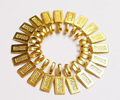 20 Medium Gold Plated Rectangle Glue on Bails, 4 Pendants Cameos, Cabs or Glass