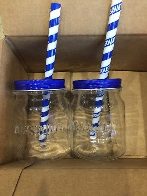 Set of 6 Absolut Vodka Plastic Mason Jars with Straws