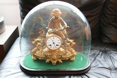 antique French ornate gilt clock under glass dome 38cm h 44cm l cherub stunning