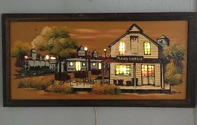 Vintage ASHBROOK STUDIOS Lighted Painting PLAINS GEORGIA Train Depot Peanuts