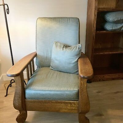Morris Chair Recliner - Quarter Sewn Oak, Recent Custom Cushions, Well Cared For
