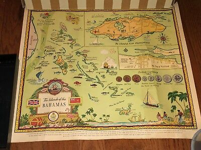 """1951 Historical map THE ISLANDS OF THE BAHAMAS George Annand 20 X 22 1/4"""""""
