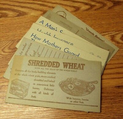 #5 Vtg SHREDDED WHEAT Advertising Cards MIXED SELECTION Lot/12