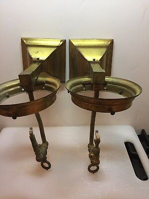 Pair Of  Vintage Mission Gas Brass Wall Sconces