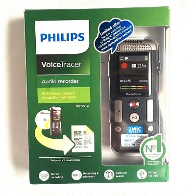PHILIPS Voice Tracer Audio Recorder DVT2710 w Speech Recognition Software Mp3