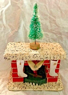 Antique Vintage Fireplace Christmas Candy Container W Flame Stockings Tree Japan