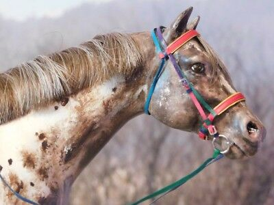 CM Breyer/model horse english bridle - leather - rainbow colors - traditional