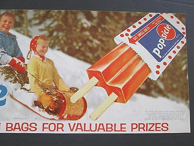 1963 Popsicle Advertising - Vintage Ice Cream Parlor Paper Poster - Litho - NOS