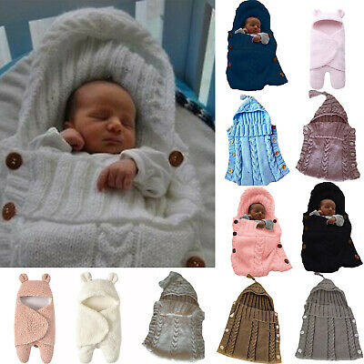 Baby Newborn Soft Fleece Blankets Boys Girls Swaddle Wrap Wram Sleeping Bag Prop