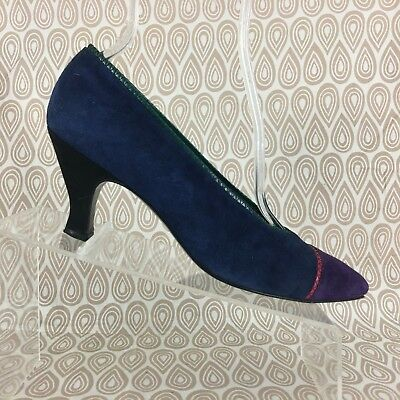0d524f097a56 Stuart Weitzman for Mr Seymour Women s Blue Suede High Heels Size 8.5 AA  S246