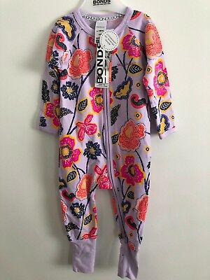 Bonds Baby Zip Wondersuit/babygrow Nwt Zazu Bloom Unisex All Sizes