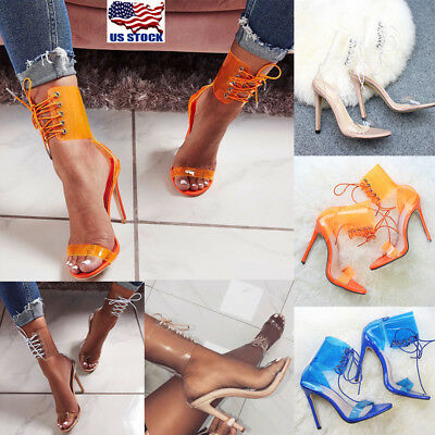 46b9881ebd6f US Women Ankle Strap Lace Up Sandals Ladies Peep Toe High Heels Shoes Party  Club