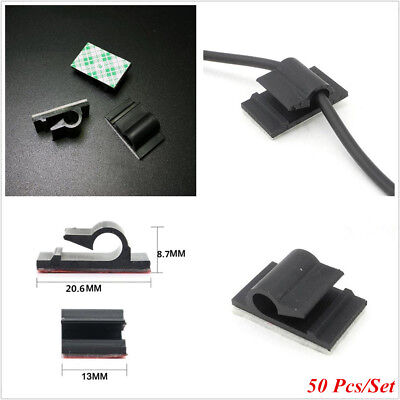 50 Pcs Black Self-Adhesive Car/Office/Home Cable Line Drop Wall Wires Fix Clips
