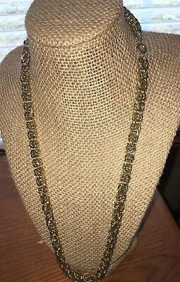 Gold Tone Byzantine Link Chain Necklace