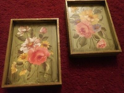 "Pair of Hand Painted Floral Shabby Chic Wood Panels Midcentury 8"" by 6"""