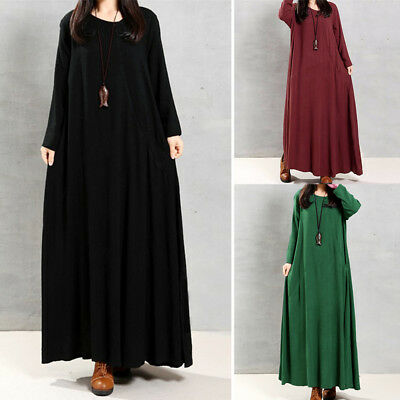 Women Round Neck Loose Casual Solid Cotton Baggy Oversized Long Maxi Dress Y9Y4