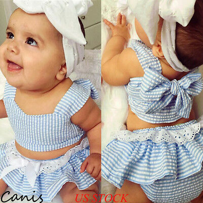 US 3Pcs Infant Kid Baby Girl Short Mini Top Skirts Pants Headband Outfit Clothes