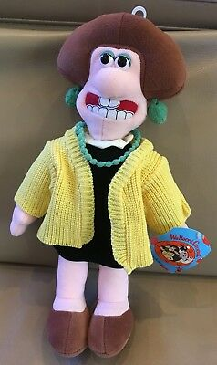 "Wallace & Gromit Wendolene Ramsbottom 14"" Plush Toy Doll Aardman Clay Animation"