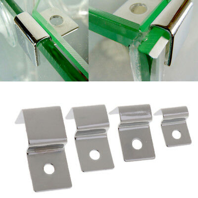 4x/Set Stainless Steel Aquarium Fish Tank Glass Cover Clip Support Holder 4 Size