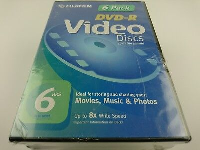 6 Pack Fujifilm DVD Recordable Media DVD-R 8x 4.70GB Video Box - Up to 8X Write