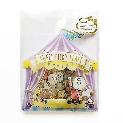 PEANUTS Snoopy Sweet Milky Flake Sticker 5 Design 15 Pieces ships from Japan