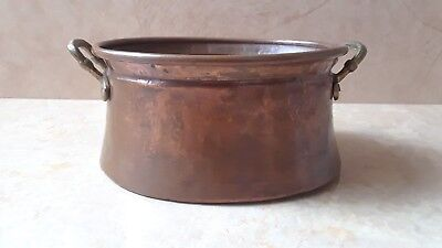 "7"" Vintage Copper & Brass Indoor Planter, Metal Flower Pot, Copper Plant Holder"